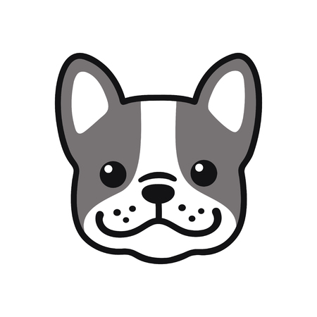 Cute cartoon French Bulldog face drawing. Adorable little dog portrait, simple vector illustration. Modern icon or logo.