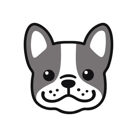 Leuke cartoon Franse Bulldog gezichtstekening. Aanbiddelijk weinig hondportret, eenvoudige vectorillustratie. Modern pictogram of logo.