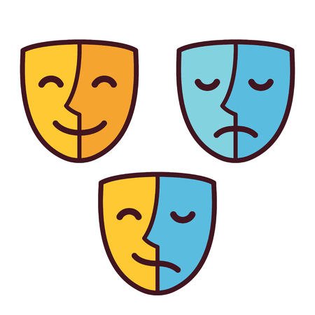 Happy and sad face mask icons, half happy and half sad. Bipolar or borderline personality disorder psychology concept vector illustration.