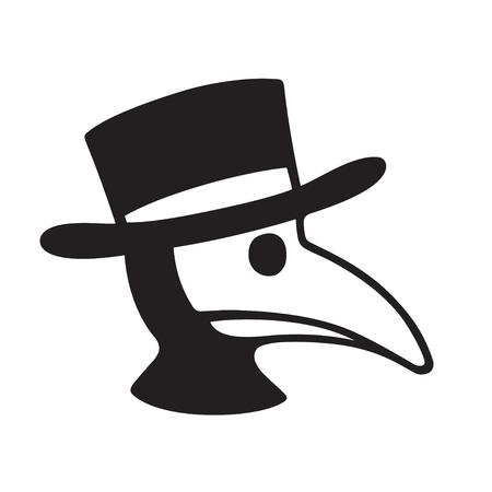 Plague doctor cabeza perfil icono o logotipo. Ilustración simple del vector blanco y negro del carácter en máscara y sombrero de pájaro. Logos