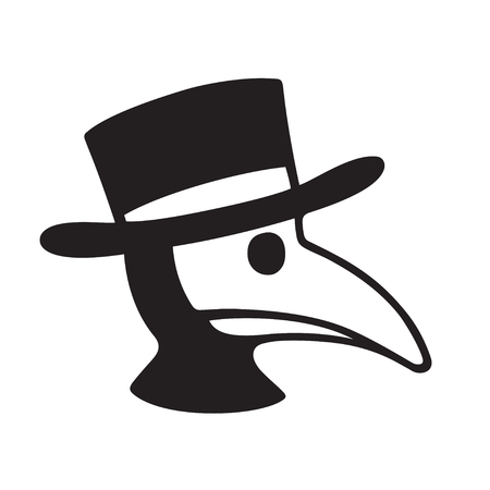 Plague doctor head profile icon or logo. Simple black and white vector illustration of character in bird mask and hat. 矢量图像