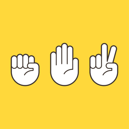 Hand gestures for Rock Paper Scissors game. Simple hand icons. Vectores