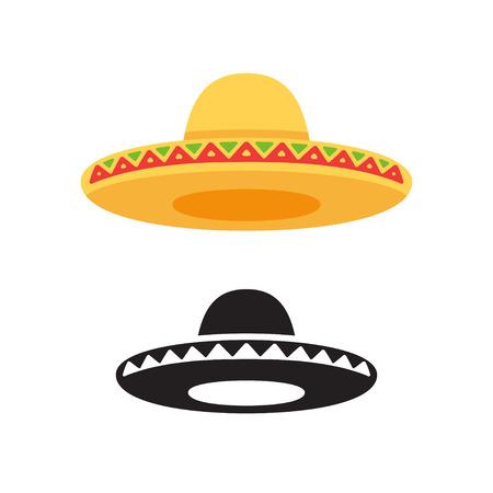 Sombrero, icono del vector del sombrero mexicano o logotipo en color y blanco y negro. Ilustración de estilo de vector plano.