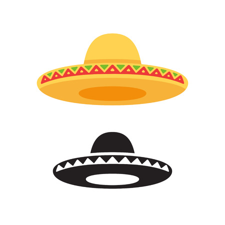 Sombrero, Mexican hat vector icon or logo in color and black and white. Flat vector style illustration.