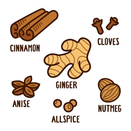 Épices aromatiques dessinées à la main dessinées: cannelle, gingembre, clous de girofle, muscade, anis et piment de la Jamaïque. Ingrédients de potiron épices dessin, illustration vectorielle.