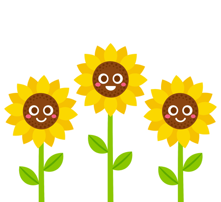 Cute cartoon smiling sunflowers vector illustration. Flowers with smiley faces.