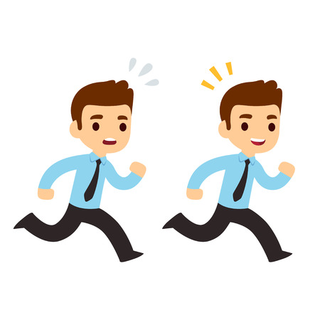 Funny cartoon running businessman illustration in modern flat vector style. Stressed, anxious and happy, successful. Business concept drawing. Illustration