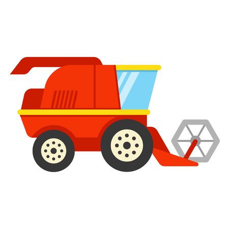 Stylized red combine harvester, flat style color icon. Isolated cartoon vector illustration.