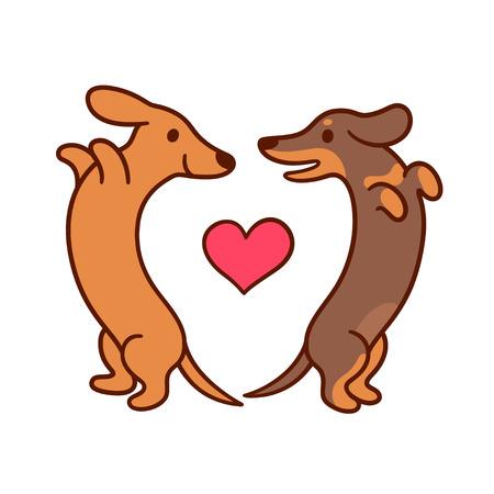 Leuke beeldverhaaltekkels in liefde, aanbiddelijke worstjehonden die elkaar in hartvorm bekijken. St. Valentijnsdag wenskaart vectorillustratie.