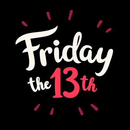 Friday the 13th, hand drawn lettering. Vector illustration for banner or poster.