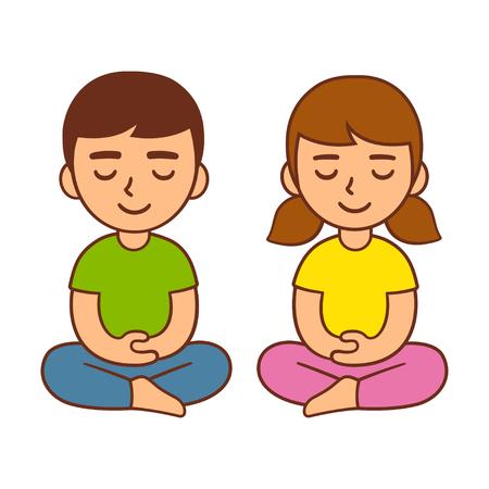Meditación para niños, actividad de atención infantil. Cute dibujos animados chico y chica, vector ilustración de personaje.