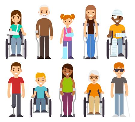 Jeu de caractères malade et désactivé. Traumatisme et blessures, personnes en fauteuil roulant, enfants et personnes âgées. Illustration vectorielle de soins de santé.