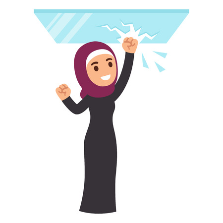 Muslim business woman breaking glass ceiling. Cartoon vector illustration.