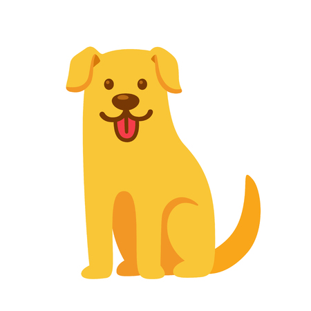 Funny cartoon Golden retriever drawing. Cute pet labrador vector illustration.