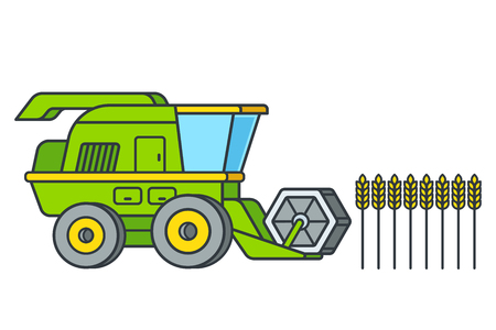 Cartoon combine harvesting wheat, line icon style. Agriculture vector illustration isolated on white background.