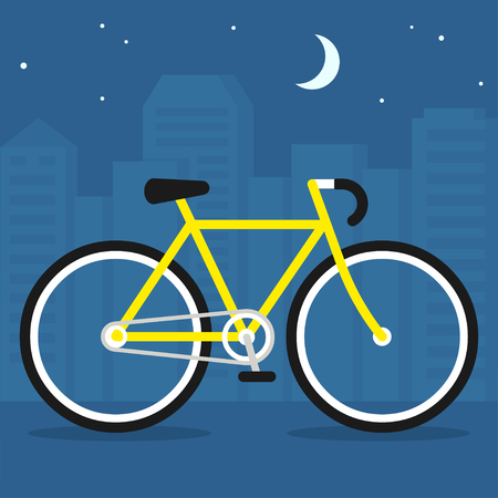 Bicycle on city street at night, simple flat vector illustration.
