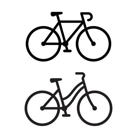 두 자전거 실루엣 아이콘입니다. 스포티 한 도로 자전거 및 캐주얼 도시 순양함, 남성 및 여성 유형. 간단한 벡터 일러스트 레이 션.