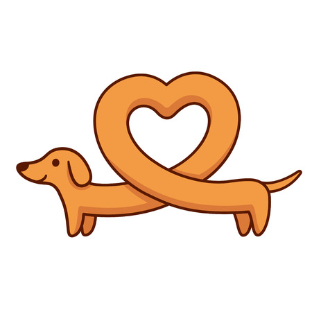 Cute cartoon dachshund with heart shaped body, funny long wiener dog. St. Valentines day greeting card vector illustration.