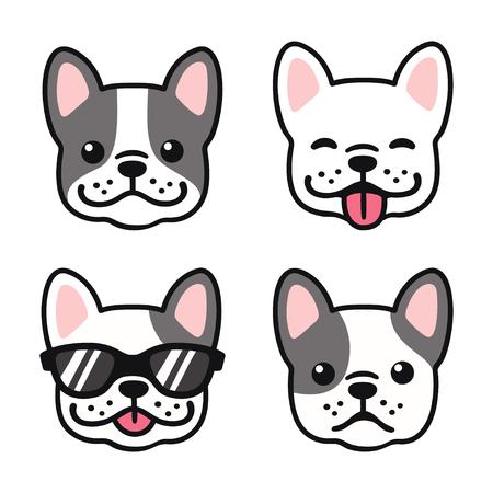 Franse Bulldog hand getrokken cartoon gezicht ingesteld. Leuke Frenchie-puppytekening, vectorillustratie.