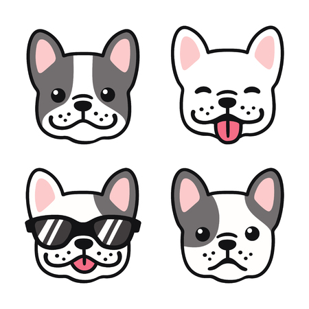 French Bulldog hand drawn cartoon face set. Cute Frenchie puppy drawing, vector illustration. Ilustracja
