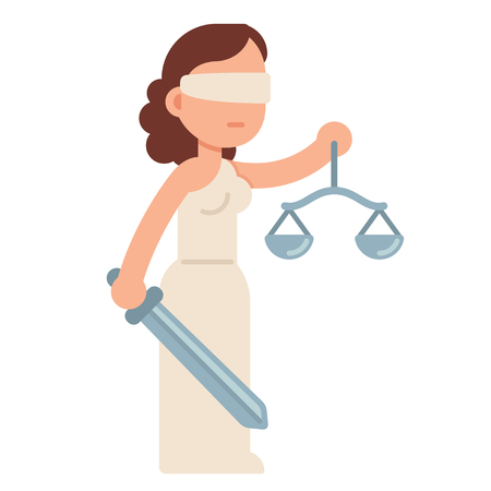Cartoon Lady Justice, blindfolded with scales and sword. Themis, Greek goddess of law and justice. Flat style vector illustration. Vettoriali