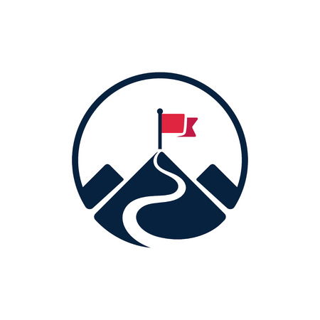 Red flag on mountain top, simple vector logo. Path to achieving goals, success concept. Isolated icon symbol.