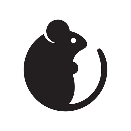 Simple cartoon mouse logo. Modern geometric mouse silhouette, vector illustration. 일러스트