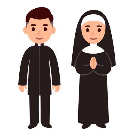 Cute cartoon prete cattolico e suora. Semplice disegno di personaggi religiosi, illustrazione vettoriale. Vettoriali