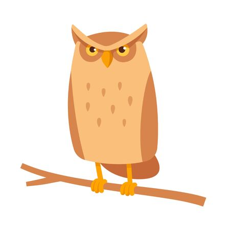 Cute cartoon owl sitting on branch. Funny frowning horned owl character, simple stylized vector illustration. Illustration