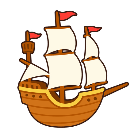 Old cartoon ship drawing with white sails. Traditional tall ship vector illustration. Stock Vector - 89095102