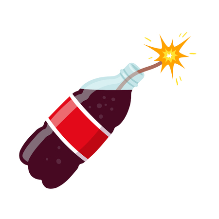 Danger of sugary drinks vector illustration. Soda bottle as dynamite causing diabetes and obesity. Health harm of sugar concept. Illustration