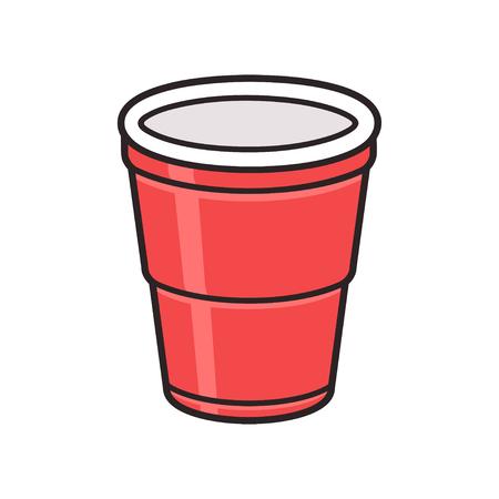 赤いプラスチック製のコップは、白い背景で隔離。伝統的な茶会ドリンク カップ ベクトル イラスト。
