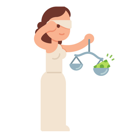 Cartoon Lady Justice taking off blindfold with money on her scales. Bribes and judicial system corruption concept. Flat style vector illustration. Illustration