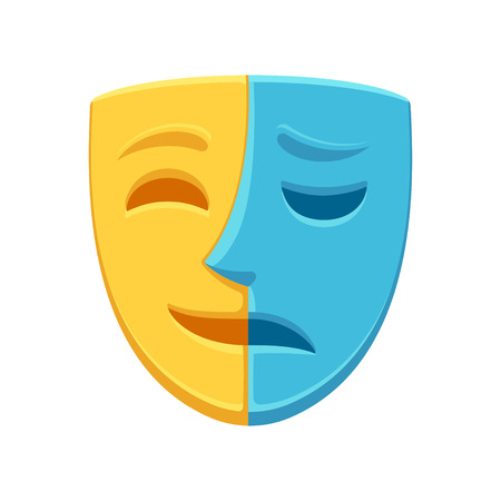 Half happy and half sad face theatre mask. Bipolar or borderline personality disorder. Psychology and mental illness concept vector illustration.