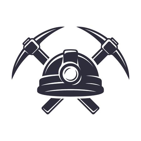 Retro mijnbouw ivon met helmhelm en twee gekruiste pikhouwelen. Stijlvolle monochrome vectorillustratie. Vector Illustratie