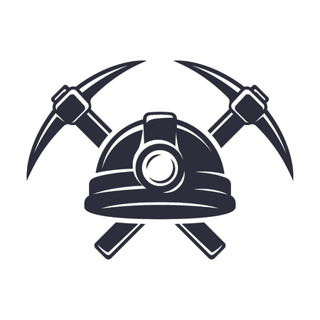 Retro mining ivon with hard hat helmet and two crossed pickaxes. Stylish monochrome vector illustration. Иллюстрация