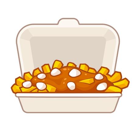 テイクアウト容器にグレービーとチーズ凝乳とジャガイモのフライド ポテト