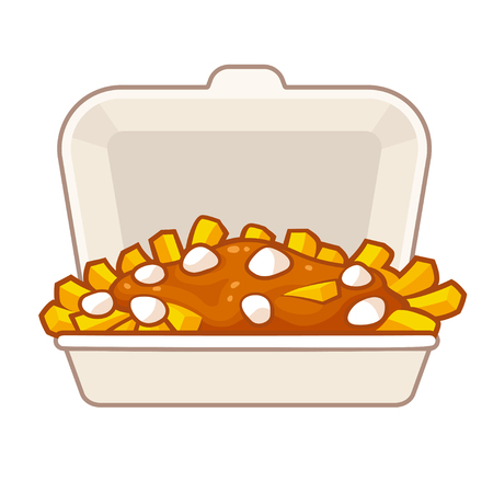 Potato french fries with gravy and cheese curds in takeaway container