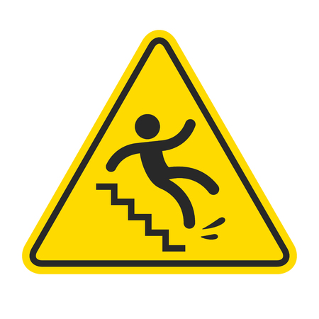 Slippery stairs warning. Yellow triangle symbol with stick figure man falling on stairs. Workplace safety and injury vector illustration. Vettoriali