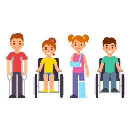 Cute cartoon children with injury and trauma. Boys and girls with crutches and wheelchair. Special needs and disability kids vector illustration.