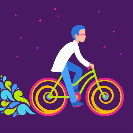 Balade à vélo psychédélique, illustration de la journée de vélo. Scientifique en blouse blanche sur un vélo de couleur lumineuse au néon. Banque d'images - 89505096