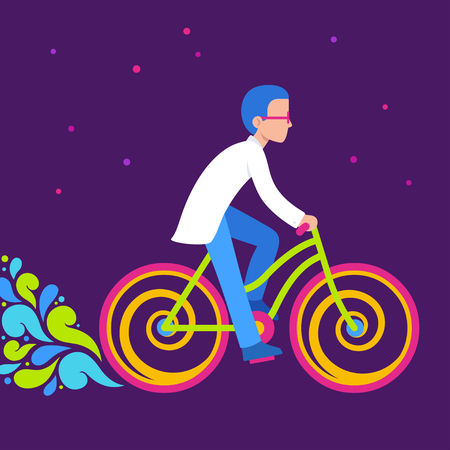 Psychedelic bike ride, Bicycle day illustration. Scientist in lab coat riding bright neon colored bicycle.