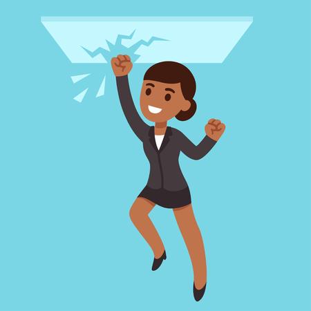 Black business woman breaking glass ceiling Illustration