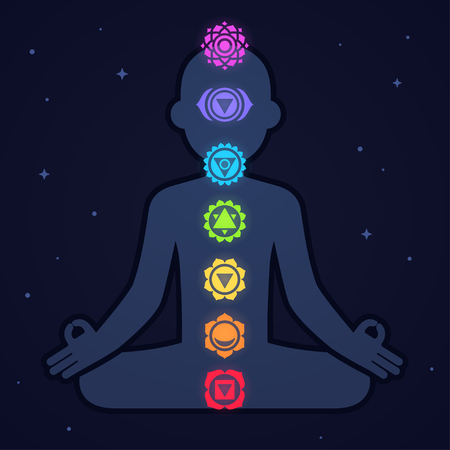 Chakra icons on male body silhouette on space background. Simple and modern vector illustration style. Vectores