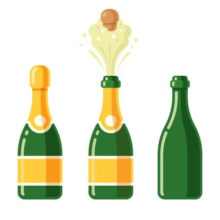 Champagne bottles cartoon icon set. Closed, popping open and empty glass bottle. Simple flat vector illustration. Stock Illustratie