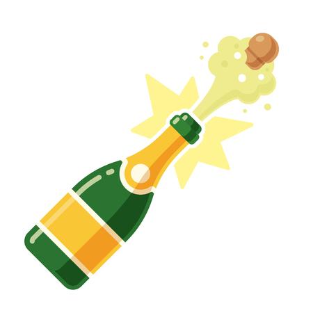 Champagne-Flaschenöffnung mit einem Knall- und Korkenfliegen. Vector Illustration in der modernen flachen Karikaturart, die auf weißem Hintergrund lokalisiert wird.