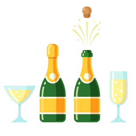 Champagne bottles and glasses cartoon icon set. Closed and opening bottle, and two flutes filled with sparkling wine. Simple flat cartoon style vector illustration. Çizim