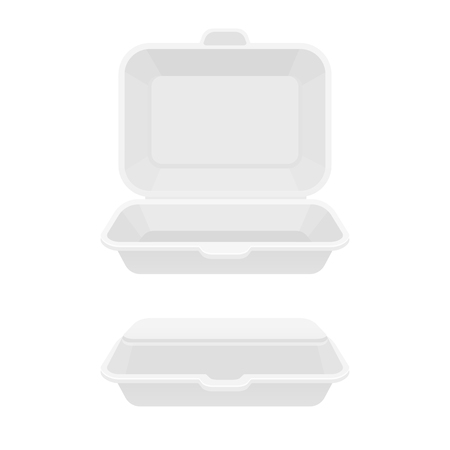 Open and closed fast food takeout container. White styrofoam lunch box for takeaway food. Isolated vector illustration.