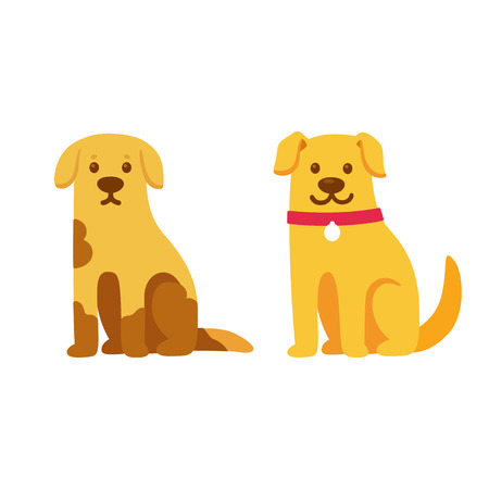 Skinny and dirty stray dog, happy and healthy rescue pet. Before and after adoption, cute cartoon drawing. Adopt a pet concept. Vector illustration. Çizim