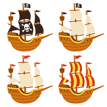 Cartoon tall ship illustration set. Pirate ship with Jolly Roger flag and black sails, and traditional sailboats. Isolated vector drawing. Illustration